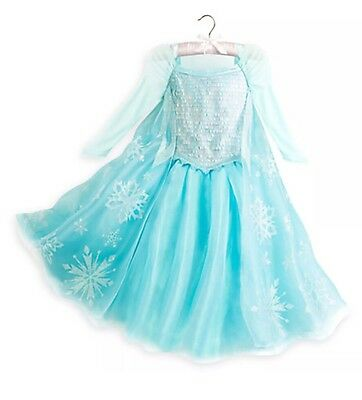 New With Tags- Disney Store Authentic Frozen Elsa Costume Dress Gown Girls 9/10