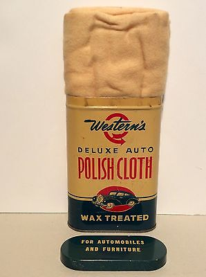 Nice! 1950's WESTERN AUTO Polish Cloth Tin Can - Sign - Service Gas Station Oil