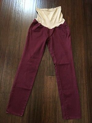 A Pea in The Pod Maternity Skinny Leg Jeans Secret Fit Belly Size Small Burgundy