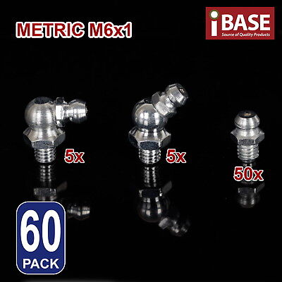 60pc Hydraulic Grease Nipple Metric Assortment Mechanical Lubricant Fittings M6