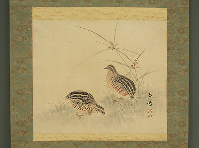 Signed Antique Kakejiku Japanese Hanging Scroll Painting of Quail Birds on Silk