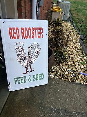"""Red Rooster Feed & Seed Farm Country Store Porcelain Sign 38"""" x 24"""""""