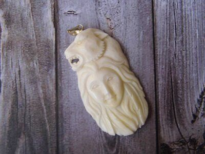 Pendant Necklace Indian Girl and Lion From Buffalo Bone Carved w/ Silver_x182