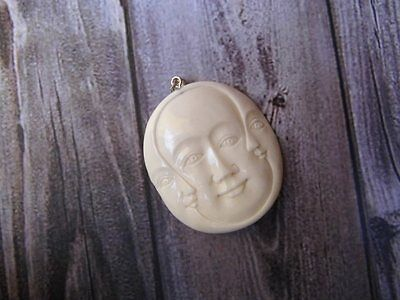 Pendant Necklace Baby Face from Buffalo Bone Carved with Silver Bail 925_w846