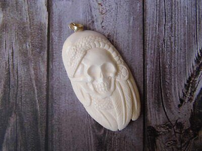 Pendant Necklace Skull Head Cobra Snake from Buffalo Bone Carved Silver 925_x185