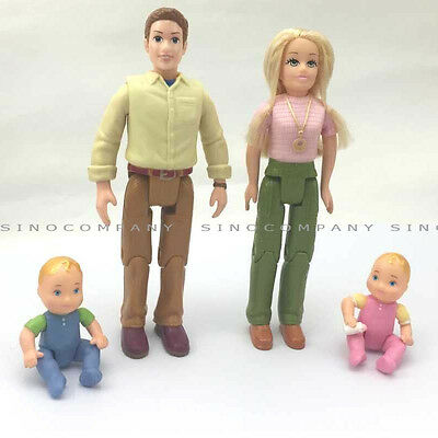 4pcs Fisher Price Loving Family Mom Dad Twin Baby Brother Sister Figure Kid Doll