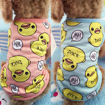 Pet Cat Dog Puppy Clothes Cute Duck Printed Vest T-Shirt Summer Apparel Costumes