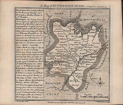 1742 Antique County Map - Badeslade & Toms Huntingdonshire North From London