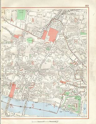 1964  Vintage Street Map -Central London, Tower, Spitalfields, Guildhall, Cannon