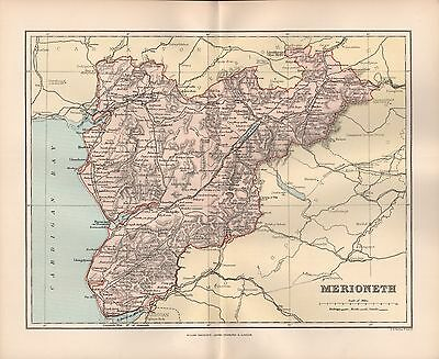1895 Antique County Map-Wales - Merioneth Dolgelly Llandrillo Harlech Barmouth