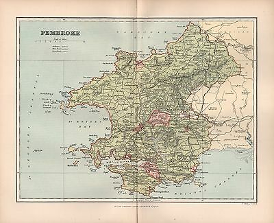 1895 Antique County Map-Wales - Pembroke Tenby Haverfordwest Newport Narberth