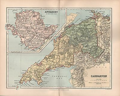 1895 Antique County Map-Wales - Carnarvon Anglesey Abersoch Criccieth Beaumaris