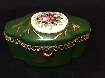 Limoges France Trinket Box Hand Painted Floral with Hinged Lid & Gold Trim
