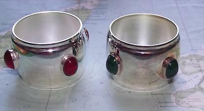 Pair Master Mariners Port & Starboard Silver Plated Glass Cabochon Napkin Rings