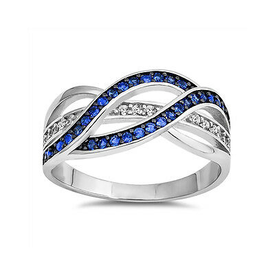 Half Eternity Weave Knot Ring Crisscross Crossover Round CZ  Sterling Silver