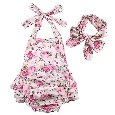 Baby Girls Summer Boutique Romper Outfit Headband Floral Vintage Cake Smash Set