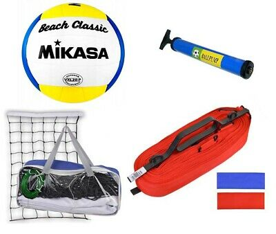 Recreational VOLLEYBALL BEACH VOLLEYBALL SET KIT LINES + NET + BALL MIKASA +PUMP