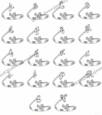 10K White Gold Finish 925 Silver Disney Ring - Mickey Mouse Diamond Initial Ring