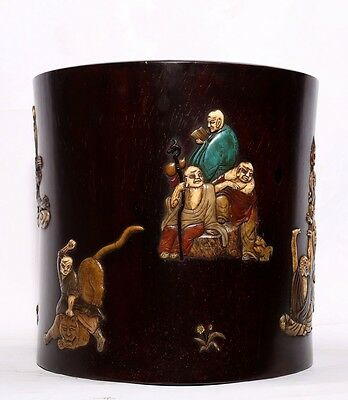 Very Large Extraordinary China Antique Hand Carving Rosewood Brush Pot US146
