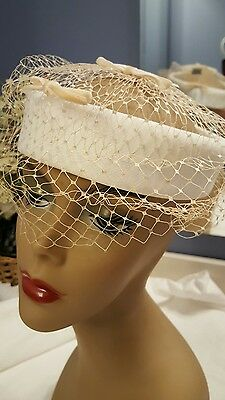 Vintage Ladies Hat White Crown Style Velvet Bows
