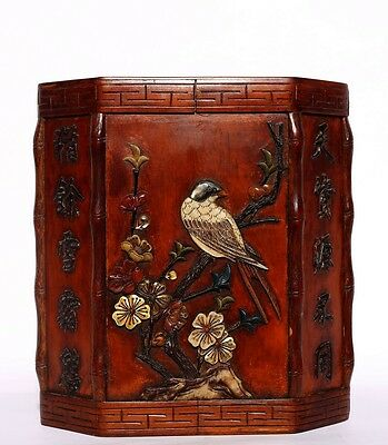 Wonderful Chinese Antique Hand Carving Boxwood Brush Pot Collectible  US133