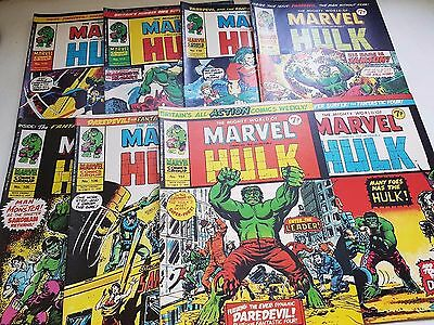 Vintage 1974 Mighty World Of Marvel The Hulk 105 - 112 (British) Fantastic Four