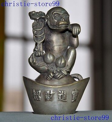 old China Tibetan silver wealth money yuan bao Zodiac animal monkey statue