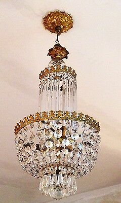 Antique 1920's Petite Crystal Brass French Empire Basket Directoire Chandelier