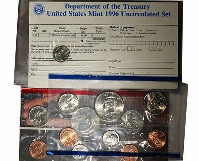 1996 US Mint Uncirculated P & D 10 Coins Set with W Dime