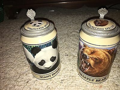 Budweiser steins 1992 ENDANGERED SPECIES GIANT PANDA and GRIZZLY BEAR mugs