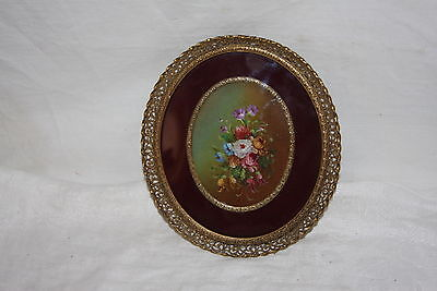 Antique Italy Artist Signed Miniature Floral Oil Painting Velvet and Brass Frame