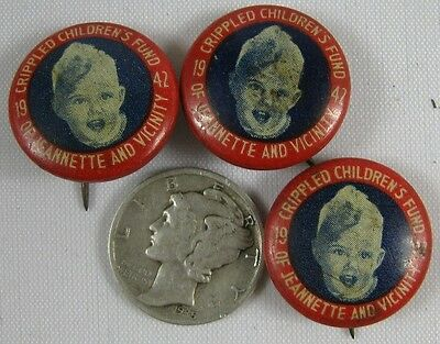 3 Vintage Pin Buttons 1942 Crippled Children's Fund Jeannette, PA