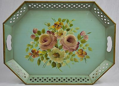 Antique Vintage Heavy Metal Serving Tray - Hand Painted Signed - NICE