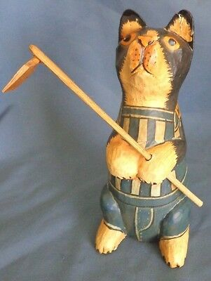 Vintage Wooden Folk Art Cat Figurine Gardener with Hoe Over 6 inches Tall