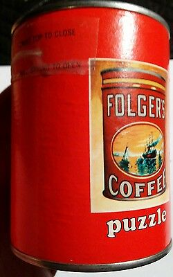 VINTAGE FOLGERS 1980's COFFEE PROMOTIONAL PUZZLE IN UNOPENED CANISTER