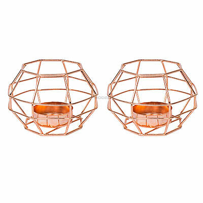 2 x Metal Copper Effect Tea Light Candle Holders Candlestick Home Decor Object