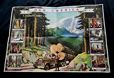 "Original 1943 ""our America Lumber"" Coca Cola Lithograph Poster #1 By N.c. Wyeth"