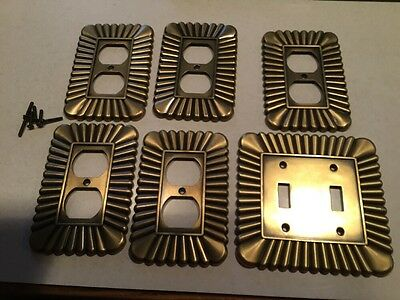 Lot 6 LHMC 2003 Brass Ornate Switch Plate & Outlet Covers