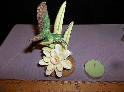 Porcelain Hand Painted Humming Bird Figurine on White Lily - Royal Heritage