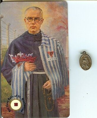 St.Maximalin Kolbe Relic Card & Also Medal of St.Joachim St.Anne & St. Mary RARE
