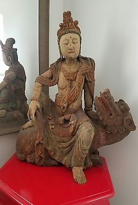 Rare Antique 18th Century Large Chinese Kwan Yin Wooden Seated Buddha w/ Dragon