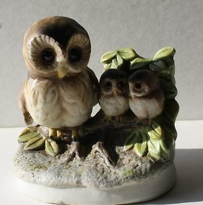 Mother Owl and 2 Baby Owls Figurine Statue Vintage Ceramic-Porcelain # 1298-CUTE