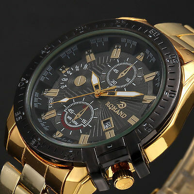 Sport Mens Black Dial Gold Stainless Steel Date Quartz Analog Luxury Wrist Watch