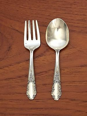 Vintage STERLING Silver Rogers Bridal Veil Baby Child's Fork and Spoon Childs