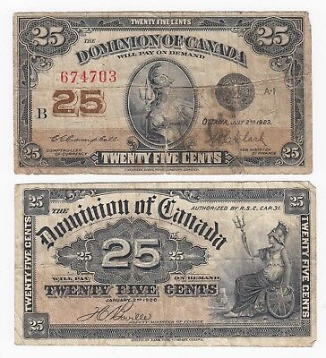 1900 & 1923 Dominion of Canada Shinplaster Twenty Five Cents