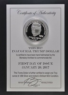 2017 Donald Trump Silver Dollar - Fdoi - First Day Of Issue - Inaugural Coin