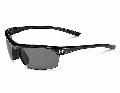 f64a3912d3 NEW Under Armour Zone II Shiny Black   Gray Polarized 8630050 0000008  Sunglasses