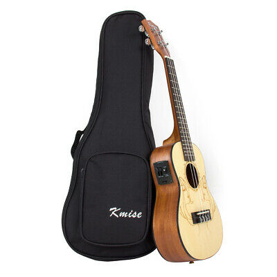 Kmise Spruce 23 Inch Electric Acoustic Concert Ukulele Hawaiian Guitar W/Bag