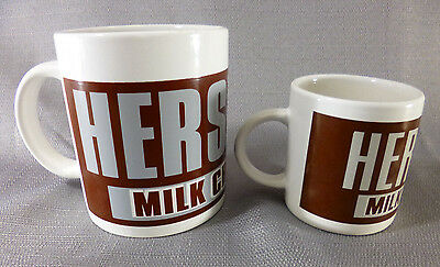 Set of 2 HERSHEY'S MILK Chocolate Ceramic Coffee Cup Mug Large and Small