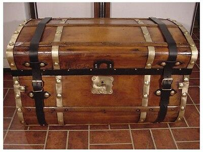 Ladycomet Victorian Refinished Jenny Lind Steamer Trunk Antique Chest w/Key&Tray